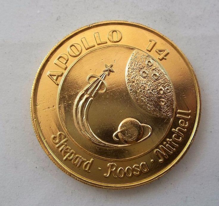 Apollo 14 Gold Tone Commemorative Coin Moon Mission Doubloon