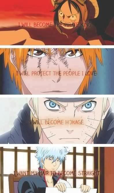 One Piece, Bleach, Naruto and Gintama.