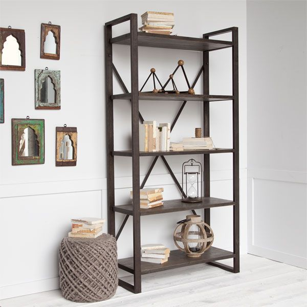 Menthalla II Shelving Large wood shelving unit with black metal cross  braces 39