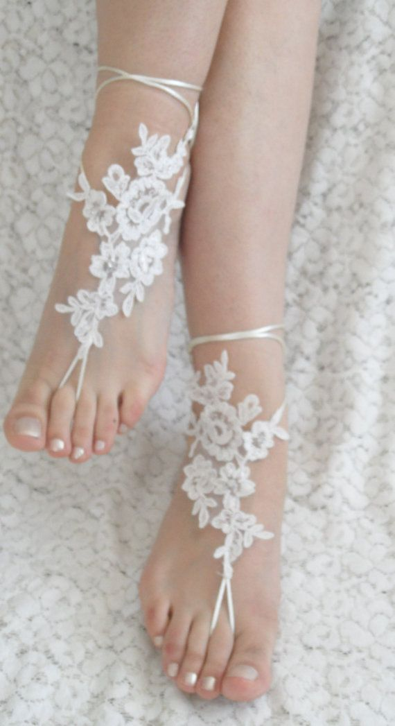 For under my sandals -free ship  bridal anklet floral lace anklet by Theworldofbrides, $28.00