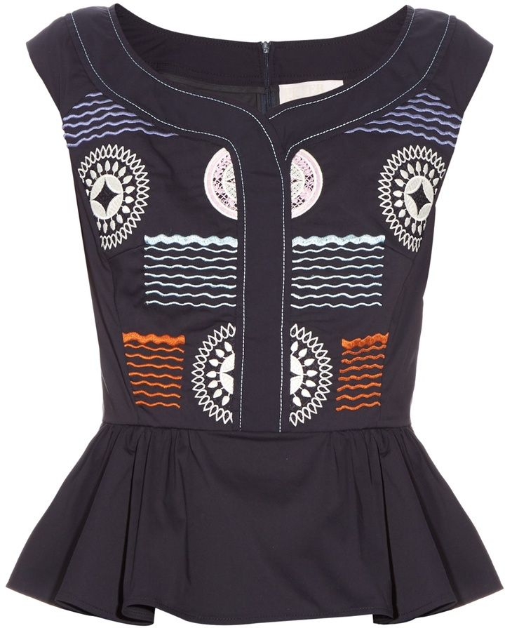 PETER PILOTTO Iris peplum-hem embroidered top