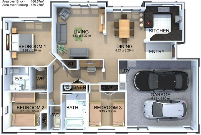 The Acacia House Plan Is A Three Bedrooms With Ensuite And Walk In Wardrobe To Master Bedroom Modern Bedroom House Plans Three Bedroom House Plan House Plans