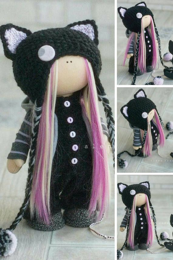 Fabric Doll Cat Doll Handmade Doll Muñecas Textile Winter Doll Christmas Doll New Year Doll Black Rag Doll Tilda Doll Baby Doll by Alena R _____________________________________________________________________________________   This is handmade soft doll created by Master Alena R (Moscow, Russia). Doll is 30 cm (11.8 inch) tall.  Dolls and toys are made from quality materials - european dolls fabric and/or american 100% cotton. Knitted elements are made from wool and/or mohair. All m...