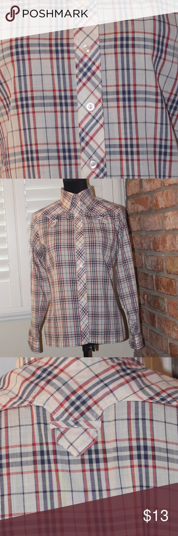 "Vintage Sears plaid button up I am going to say this is a ""unisex"" shirt, only because I am not actually sure if it was originally for a male or female??  Either way, it fit me great when I wore it and I would say it's a small in women's.  I did not think and take measurements before I posted this but I am more than happy to get you those if you love this shirt like I do :)  No rips, no tears, great condition - Please see pics and I am happy to answer any questions! Sears Tops Button Down…"