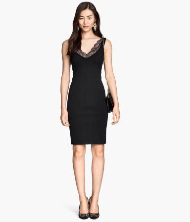 Jersey figure fitting dress with lace trim | H&M GB