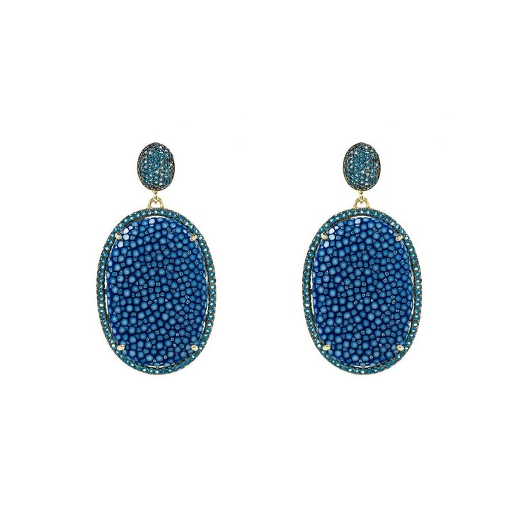 Stingray Pave Oval Earring Royal blue