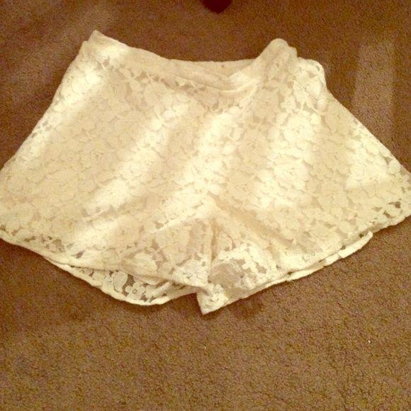 Cream lace shorts Cute slide-on lace overlay shorts. Shorts