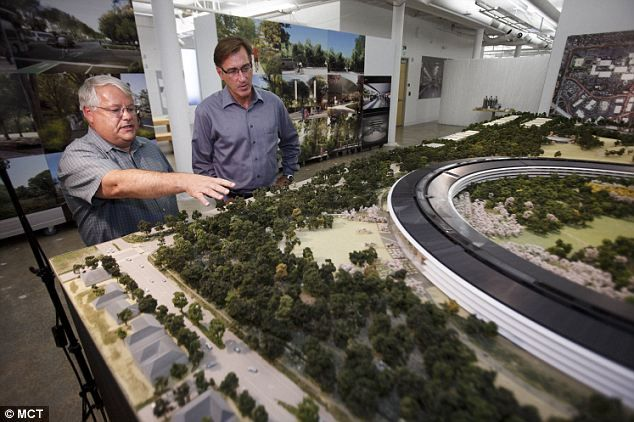 Apple's  CFO Peter Oppenheimer, left, and Senior Director of Real Estate and Facilities at Apple, Dan Whisenhunt show a rendering of the proposed new headquarters in Cupertino, CA if city approves the plan.