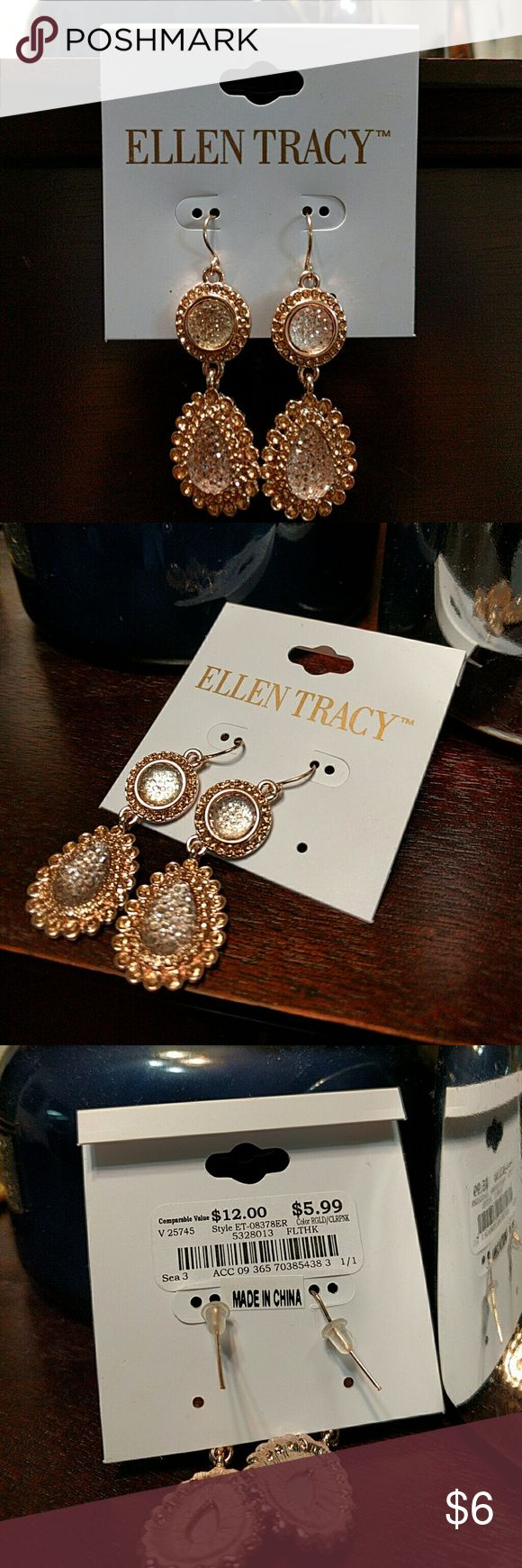 Ellen Tracy Earrings Rose gold and clear pink Ellen Tracy Jewelry Earrings