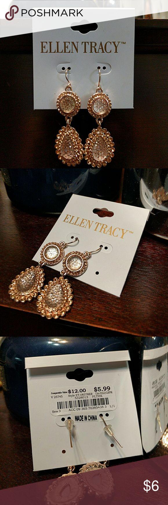 Ellen Tracy Earrings Rose gold and clear pink Ellen Tracy Jewelry Earrings
