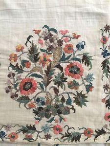 19th C LARGE ANTIQUE OTTOMAN-TURKISH HAND EMBROIDERY ON LINEN 'YAGLIK'******