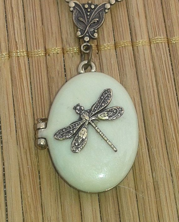 Dragonfly Oval Locket Necklace Cream enamel locket by Angellesque