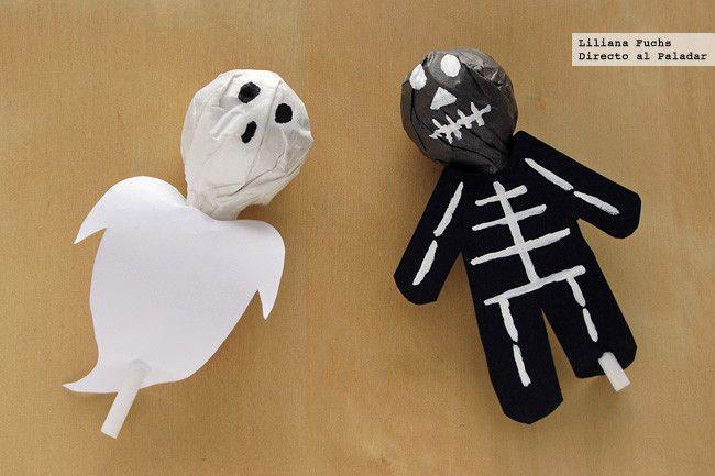 Cómo disfrazar chupa chups de pantasma e esquelete para Halloween
