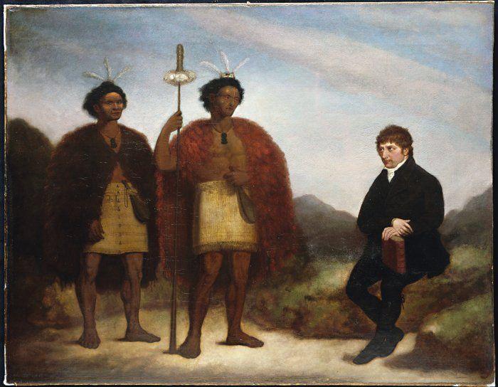 James Barry 1820: The Rev Thomas Kendall and the Maori chiefs Hongi Hika and Waikato.