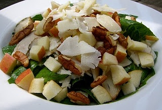 Crisp apple salad with spinach and pecans. It's low carb too.
