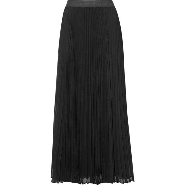 ENZA COSTA Pleated chiffon maxi skirt (8.785 RUB) ❤ liked on Polyvore featuring skirts, black, pleated skirt, long chiffon maxi skirt, floor length maxi skirt, chiffon skirt and long pleated chiffon skirt