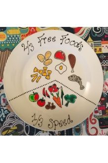 Hand painted portion control plate. Slimming diet, visual aid to help change your world.  Ornamental plate art