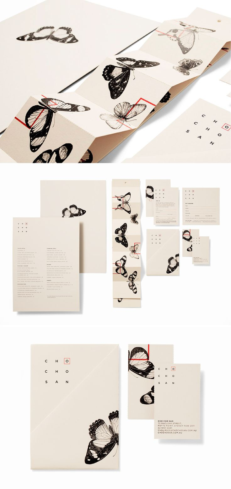 butterfly restaurant branding for Cho Cho San // by Ascender   Elements leaving page/ boxes separating