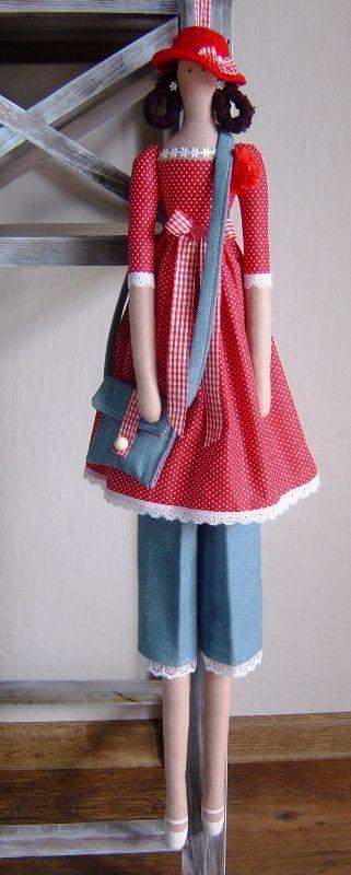 Tilda in red & blue, purse, hat.