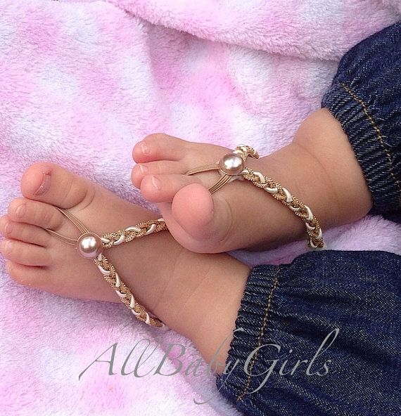 Gold Braided Baby Barefoot Sandals on Etsy, $9.81 CAD