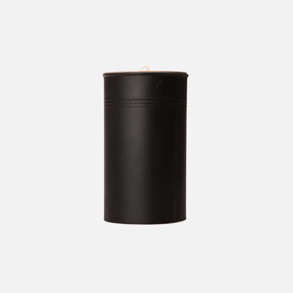 Recycle Bin in Matt Black // Powdered Steel and Birch Ply Lid // Pedersen + Lennard