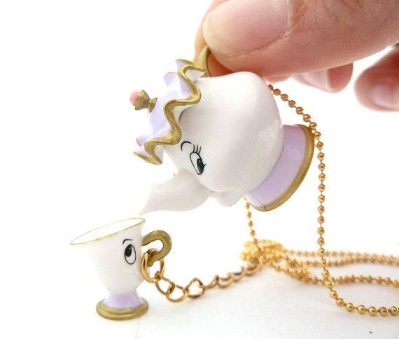 Disney Beauty And The Beast Mrs. POTTS & CHIP necklace unique gifts for girls birthday party favors from shimrita cupcakes. Saved to Disney Mania.
