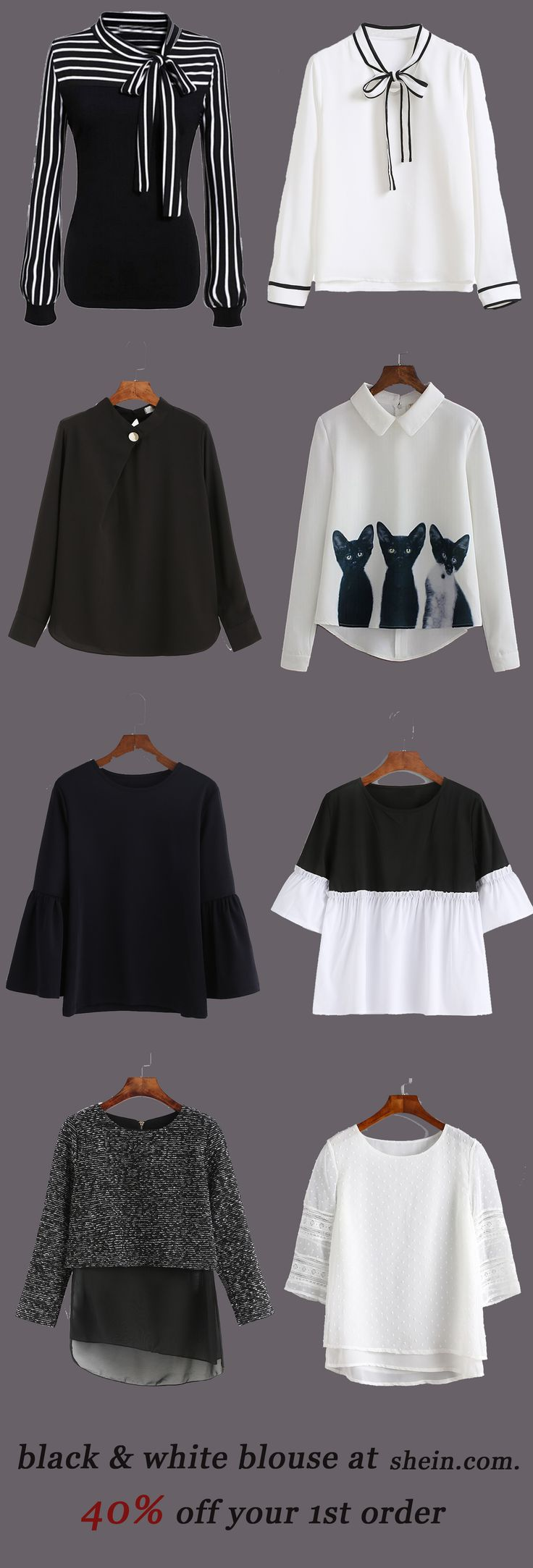 Black & white blouse collection for women. 40% off your 1st order!