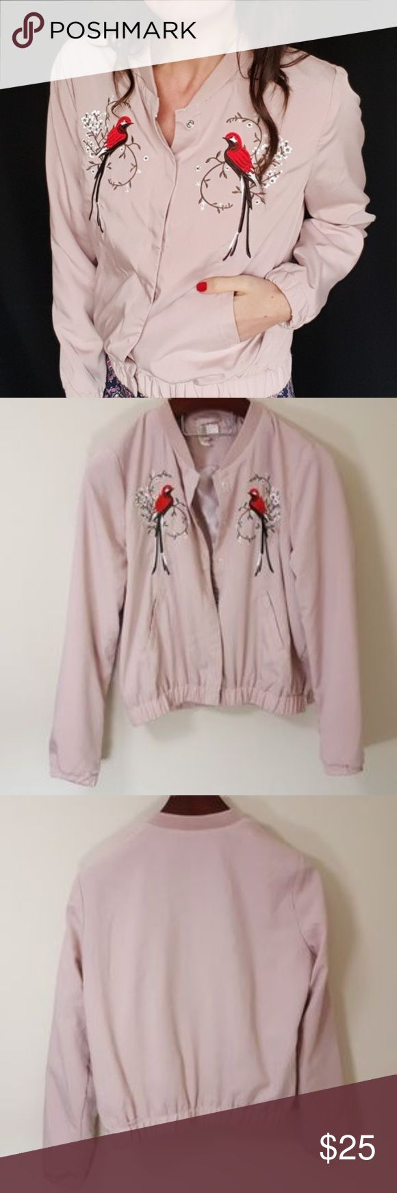 Bird embroidered bomber jacket -B5 In good condition! Adorable light pink bomber jacket with embroidered birds! From H&M. Used item:pictures show any signs of wear or use. Inspected for quality and wear! Bundle up! Offers always welcome:)  Shop my husband's closet!: @kirchingeraaron H&M Jackets & Coats