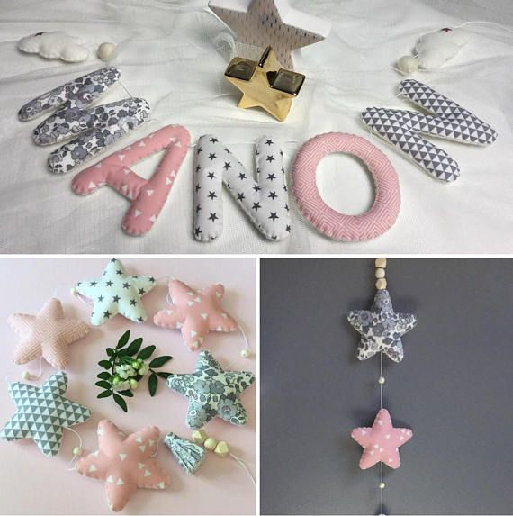 Stars felt Garland and assorted fabrics