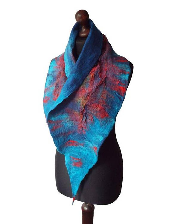 Felted collar made from finest Australian merino wool and hand dyed cotton gauze. Colors: shedes of turquoise, red, petrol blue, royal blue, dark blue, yellow.  Size: length: 140cm (55,12) width: 12 - 28cm (4,72 - 11,02)  Visit my fan page on Facebook: www.facebook.com/pracownia.artystyczna.arteduo  More scarves you can find here: www.etsy.com/shop/MarlenaRakoczy?section_id=14901313&ref=shopsection_leftnav_1