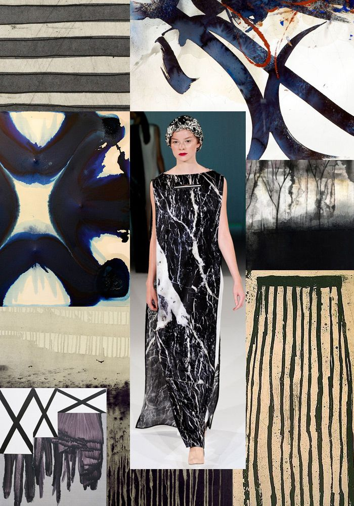 Trend Prediction   Spring/Summer 2014   Monochromatic Marks trend forecasts - Bold Brush-marks / Horizontal Stripes / Inky Black / Saturated Colour / Watercolour Washes / Mono-prints / Nature Inspired / Drippy Textures / Styles Mixed