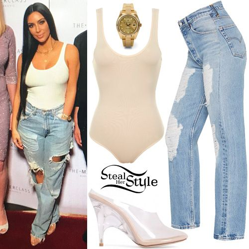 Kim Kardashian attended The Masterclass Dubai featuring Kim and Mario at Palm Jumeirah in Dubai wearing a House of CB Luca Seamless Knit Stretch Bodysuit ($73.00), Levi's Vintage Distressed Jeans ($88.00), a Rolex Day-Date II President Yellow Gold Watch ($36,765.00) and Yeezy Season 4 Mules (Not available online). You can find similar shoes at Public Desire ($44.99).