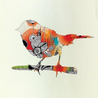 bird cut out illustration: Birds Prints, Tattoo Ideas, Birds Art, Tattoo Pattern, Little Birds, Duvet Covers, A Tattoo, Sweets Tattoo, Iveta Abolina