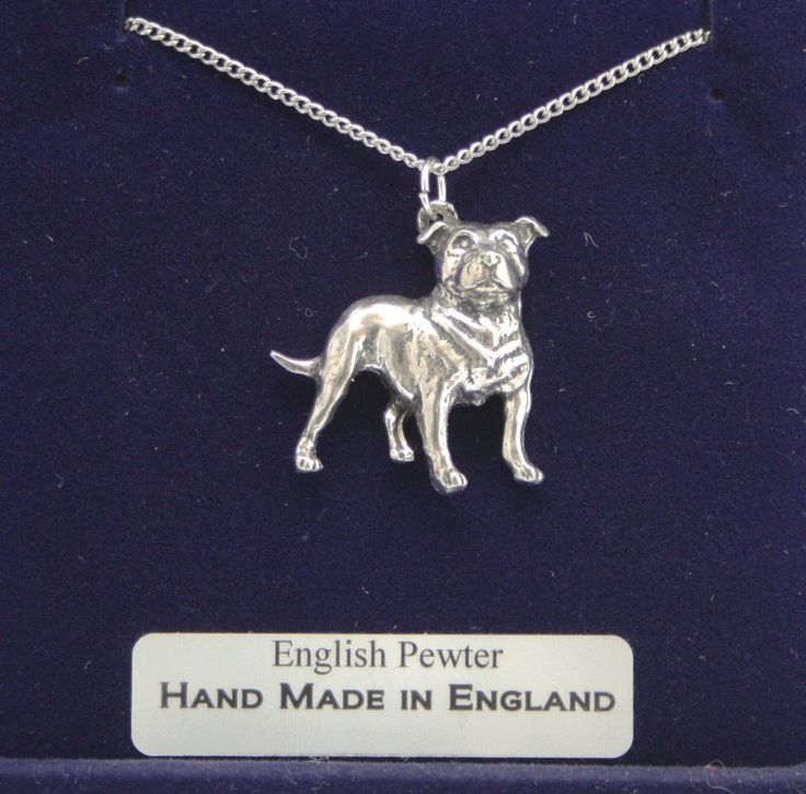 Staffordshire Bull Terrier Dog Necklace in Fine English Pewter, Hand Made, Gift Boxed, Staffie (ab) by PaulSimmons on Etsy https://www.etsy.com/listing/160868283/staffordshire-bull-terrier-dog-necklace