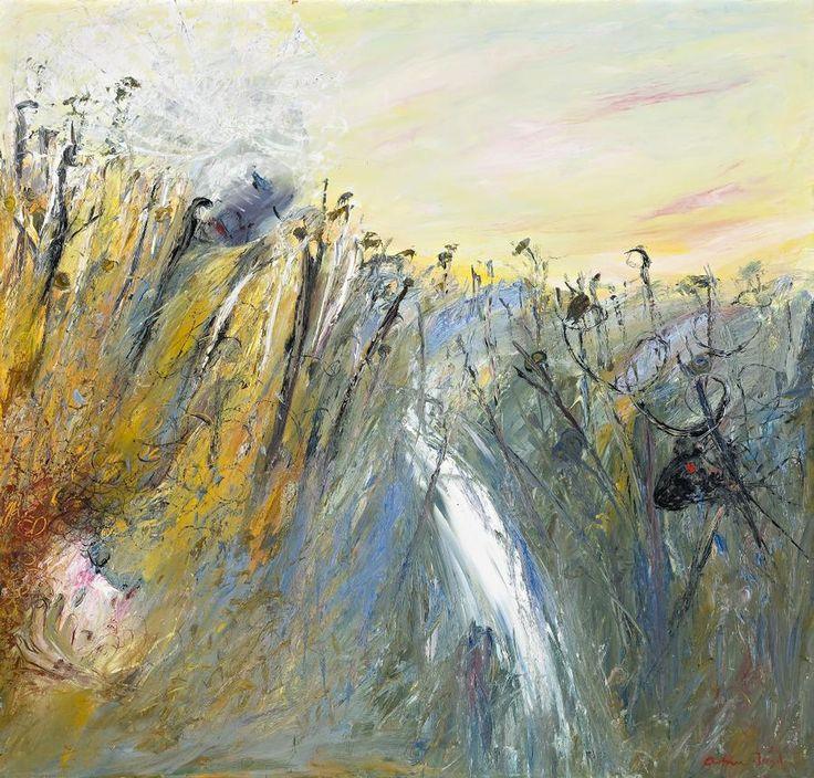 Arthur Boyd (Australian, 1920-1999), Landscape with Bride, Ram and Waterfall, c.1966-68. Oil on canvas, 108.5 x 113.5 cm.