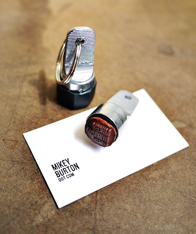 rethink the business card: Instant Business, Logo, Cards Stamps, Business Cards, Keys Rings, Mikey Burton, Cool Ideas, Art Projects, Custom Stamps
