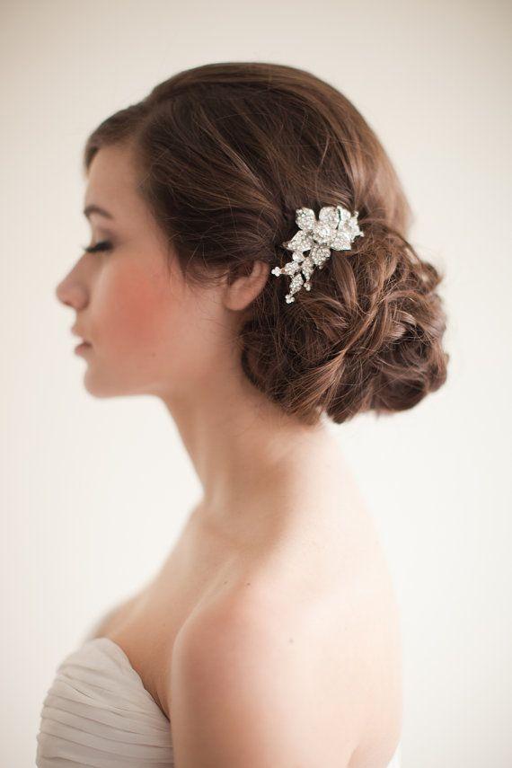 Flower Rhinestone Bridal Comb Floral by MelindaRoseDesign on Etsy, $50.00