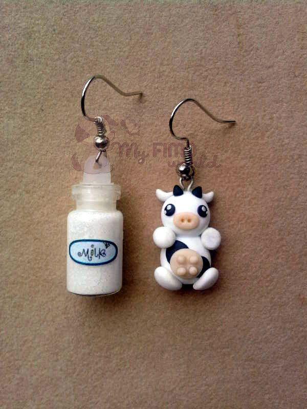 Orecchini pendenti con mucca e bottiglietta di latte, by bimbalove's shop, 8,00  su misshobby.com