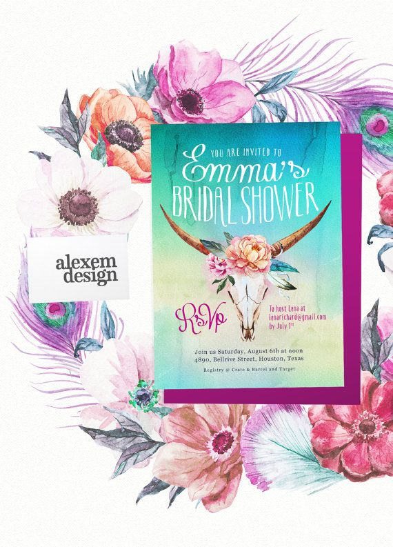 Boho Bridal Shower Invitation Engagement Wedding Invite Country Western Chic Ombré Watercolor Feathers Flowers Turquoise Teal Green