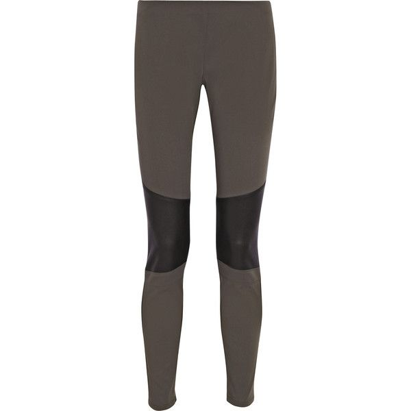 Belstaff Lydney gabardine and leather leggings-style pants ($255) ❤ liked on Polyvore featuring pants, bottoms, calças, clothing - pants, leggings, dark gray, belstaff, skinny leg pants, cuff pants and skinny pants