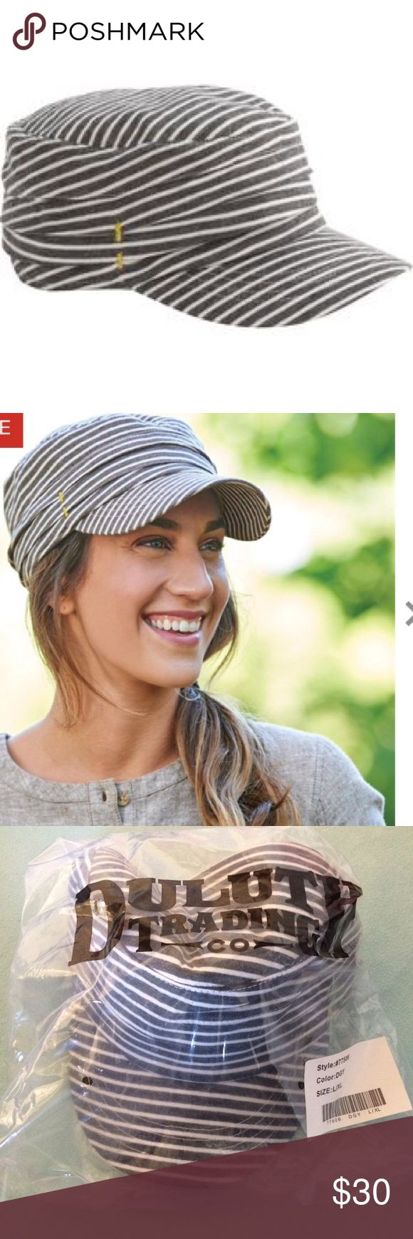 Duluth Women's Military Cap Striped cap with brim from the Duluth Trading Company. Don't forget about bundling and free gifts with every purchase! Duluth Trading Co Accessories Hats