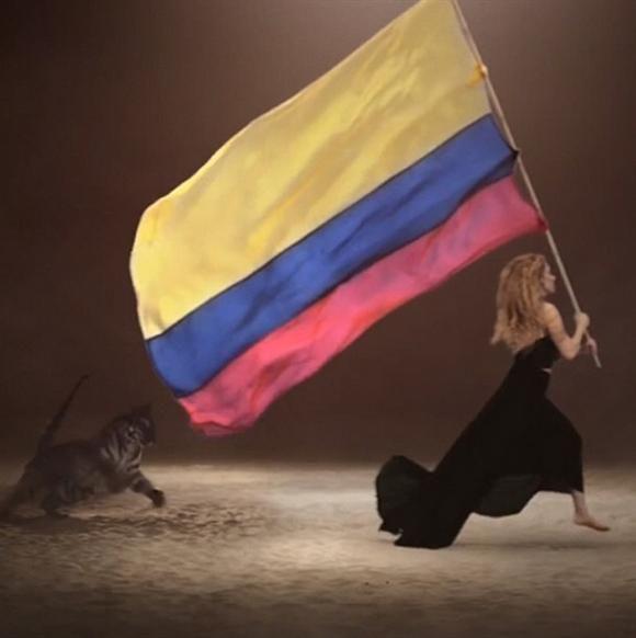 """#daretodream #COL ShakHQ"" --Shakira, who raised the Colombian flag up high Like us on Facebook?"