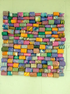 re-do this with paper towel rolls and toilet paper rolls for group work...great for art show piece.
