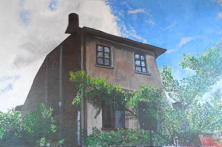 Ana Flores Casa de San Ignacio óleo 70 x 50 ORIGINAL