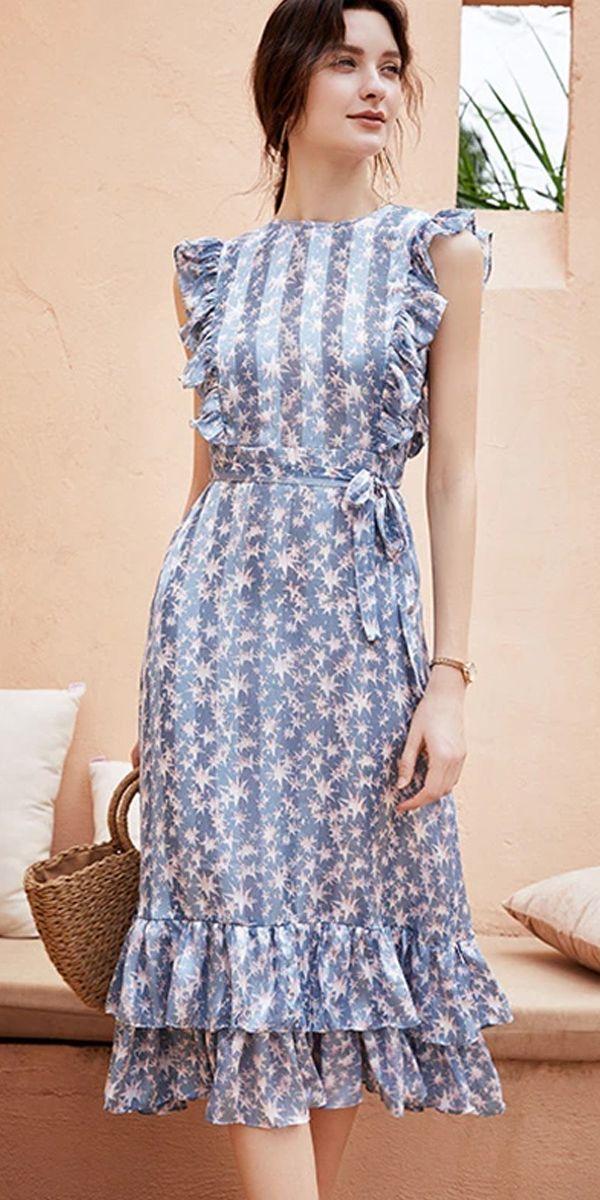 Lotus Leaf Slim Chiffon Lace-Up Print Dress