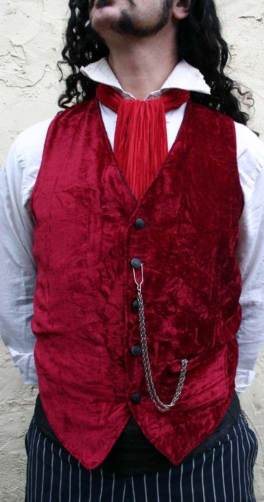 Burgundy Red Velvet and Black Silk Dupioni Gentlemen's Steampunk Vest with Nautical Buttons
