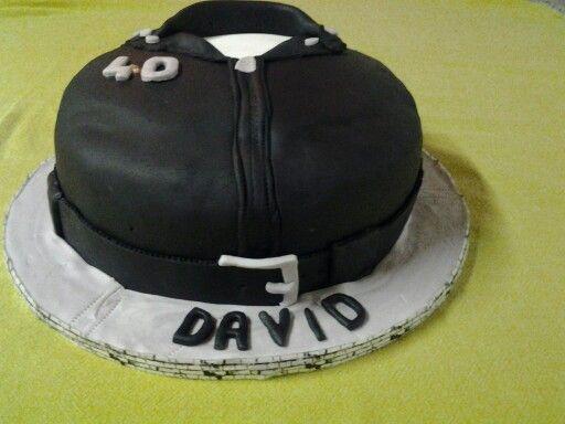 Chocolate biker jacket cake