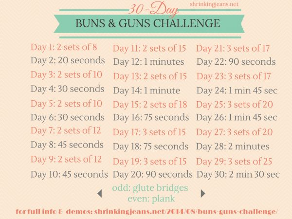 30-Day Buns & Guns Challenge: Free Monthly Workout Calendar #fitness #exercise #workout @shrinkingjeans