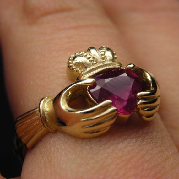 Gold ruby claddagh ring in 10kt 14kt 18kt  by nellyvansee on Etsy, $481.00