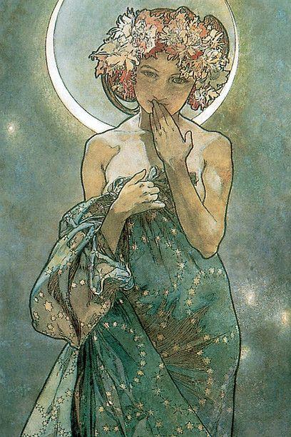 Alfons Mucha, Studie für Der Mond, 1902, Detail. Stift, Tuschezeichnung und Aquarell, 56 x 21 cm. The Mucha Trust Collection